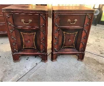 Antique 1930s Cherry Wood Leather Front Nightstend