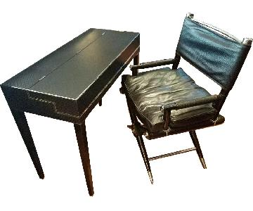 Theodore Alexander Lift Top Leather Writing Desk & Chair