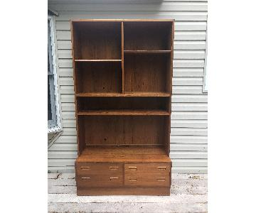 Danish Modern Shelving Unit w/ Four Drawers