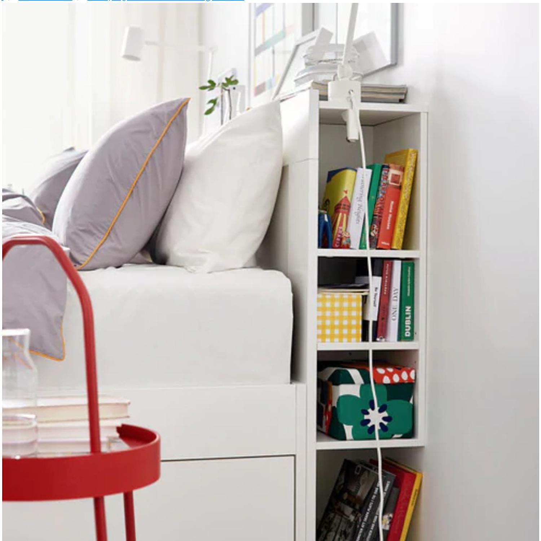 Ikea Brimnes Full Size Storage Bed w/ Storage Headboard