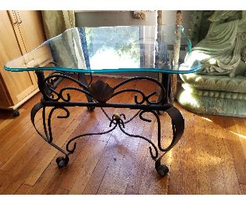 Beveled Glass Coffee Table w/ Seashell Motif
