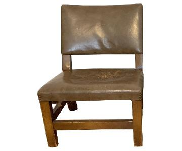 Vintage Leather Low Chairs w/ Nailhead Trim