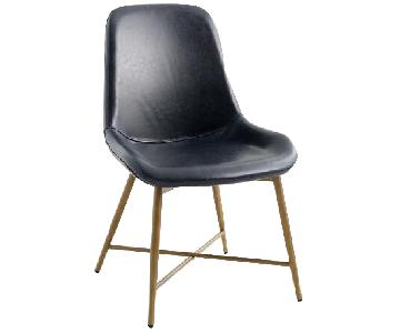World Market Smoke Black Leather Dining Chairs