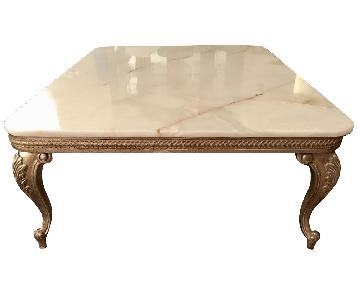 Vintage White Onyx and Wood Coffee Table