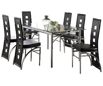 Wildon Home Glass Dining Table w/ 6 Chairs