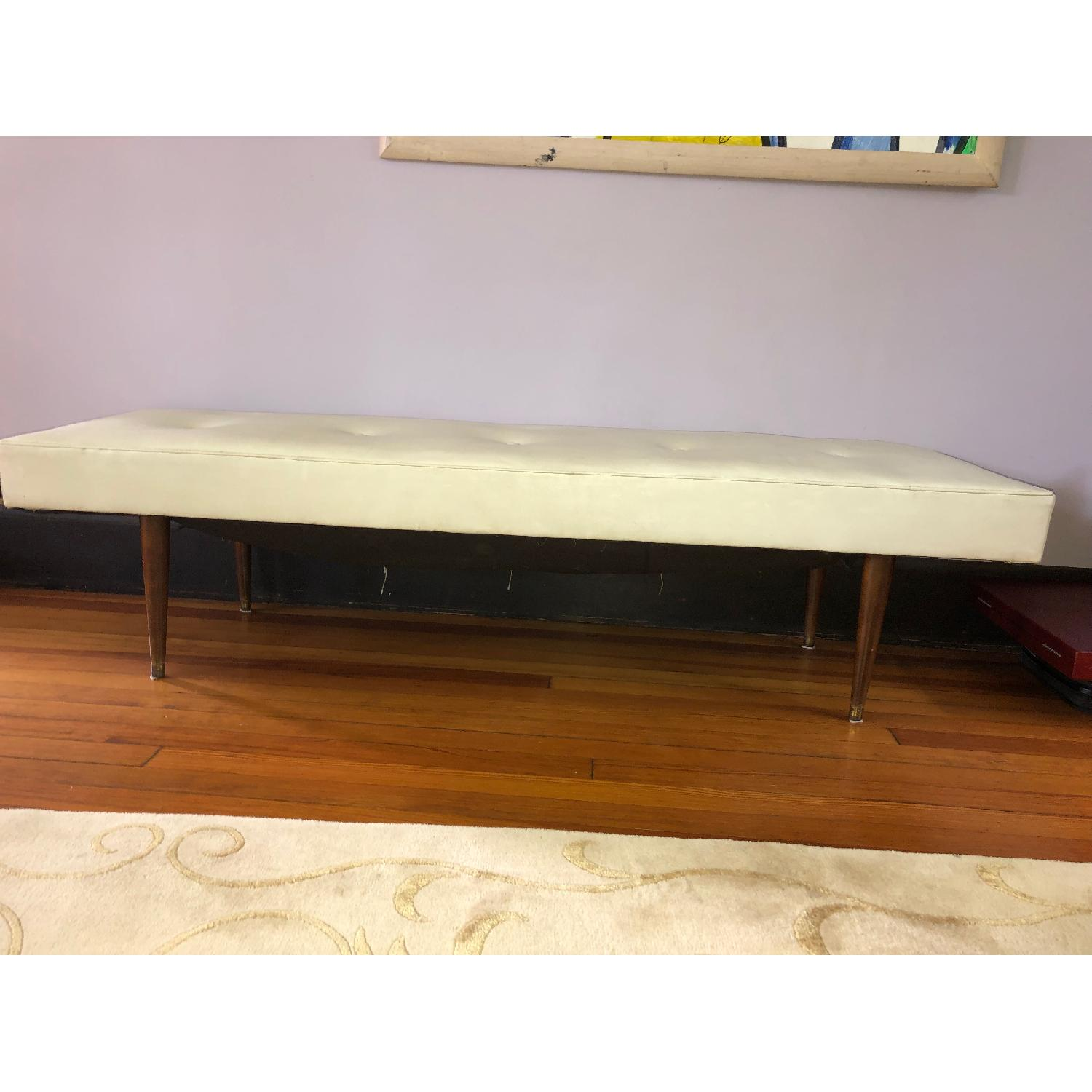 Mid Century Faux Leather Bench Aptdeco