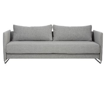 CB2 Tandom Grey Blue Sleeper Sofa
