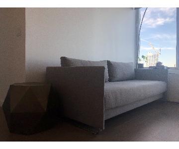 CB2 Tandom Grey Blue Sleeper Sofa