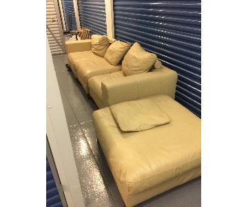 Cream Leather 3-Piece Sectional Sofa & Ottoman