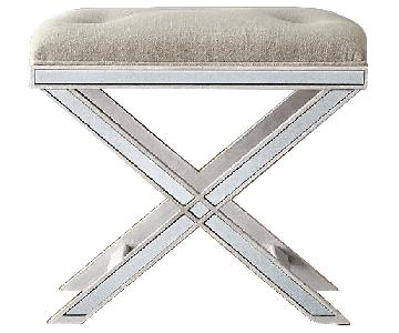 Restoration Hardware Delaney Mirrored Stool in Vintage Grey