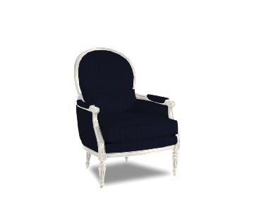 Ethan Allen Suzette Chair in White Wood w/ Navy Velvet