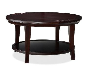 Pottery Barn Round Coffee Table in Espresso Stain