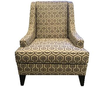 Ethan Allen Emerson Chair in Maxine Sterling Grey Pattern