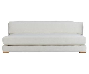 CB2 Piazza White Armless Sofa