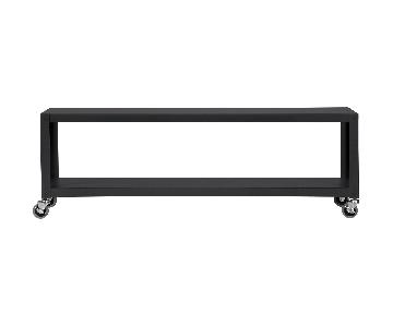 CB2 Go-Cart Black Rolling Media Console
