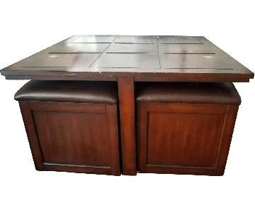 Coffee Table w./ 4 Storage Ottomans