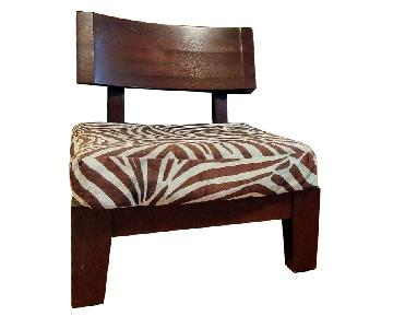 Solid Teak Accent Chairs w/ Custom Cushion Covers