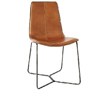 West Elm Slope Leather Dining Chair w/ Charcoal Legs