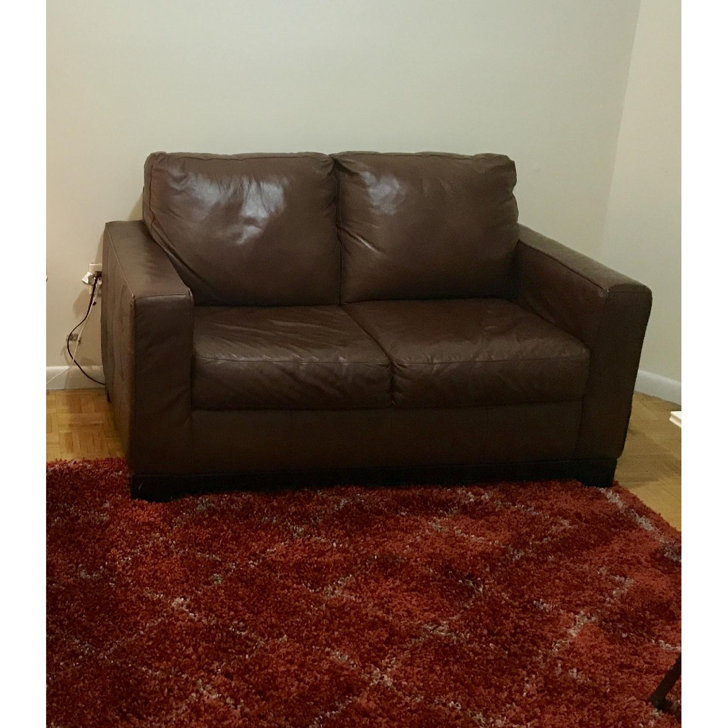 Dark Brown Leather Loveseat Aptdeco