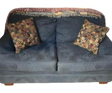 Blue Fabric Loveseat