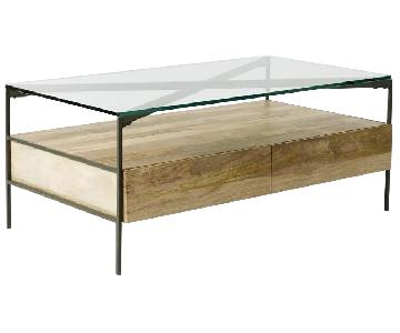 West Elm Glass-Topped Industrial Storage Coffee Table