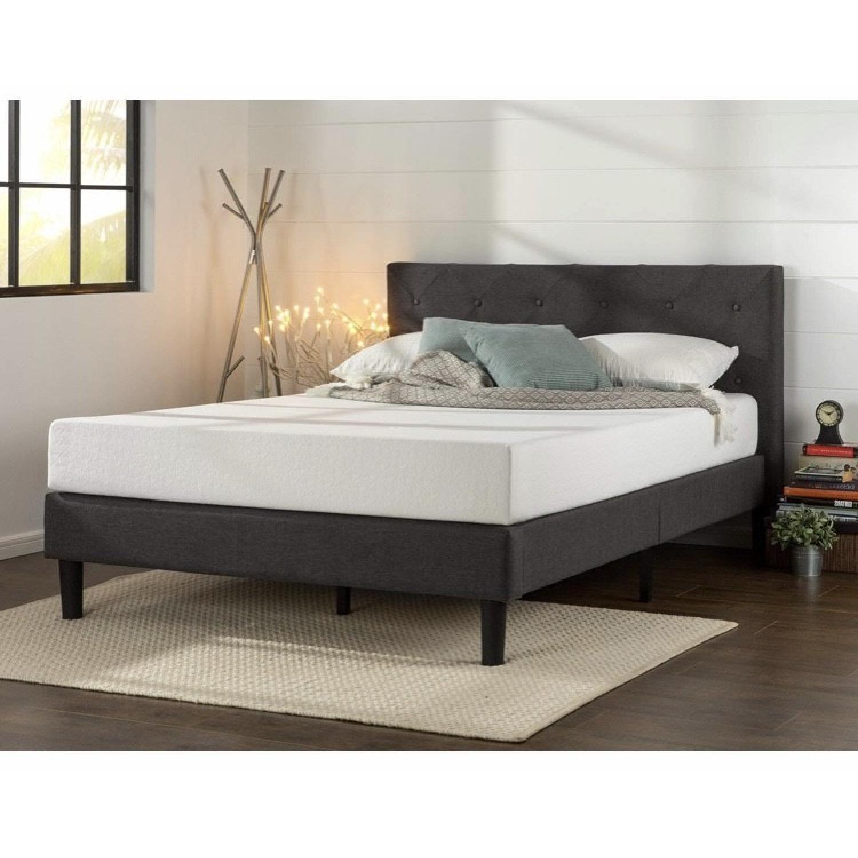 Zinus Upholstered Diamond Stitched Platform Full Size Bed