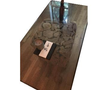 Glass Coffee Table w/ Rustic Wood Base