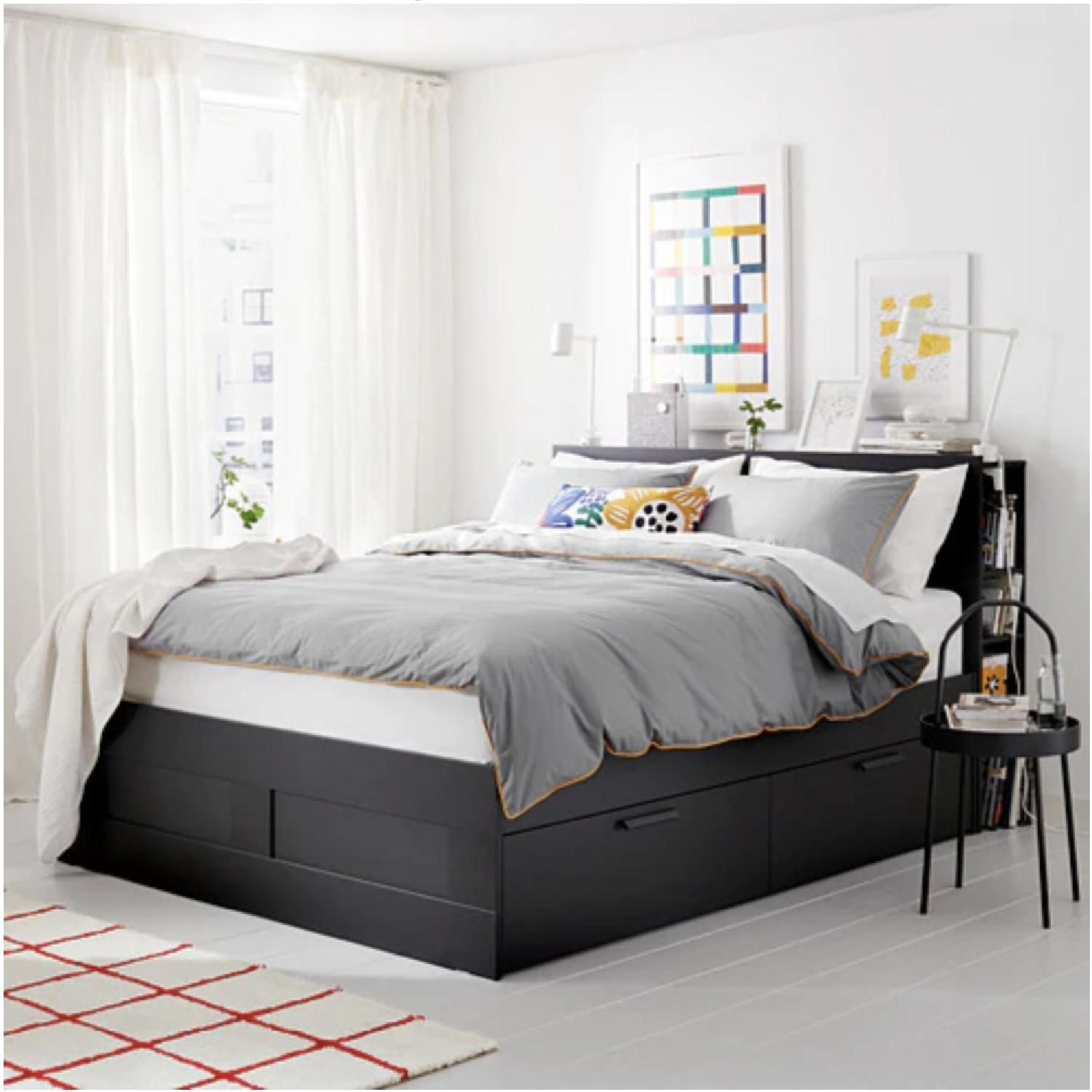 Ikea Brimnes Full Size Storage Bed w/ Storage Headboard