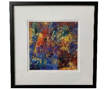 Kelly's Art Studio Colorful Abstract Art in Black Frame