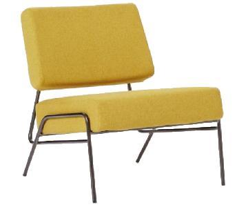 West Elm Wire Frame Slipper Chair in Horseradish Flannel