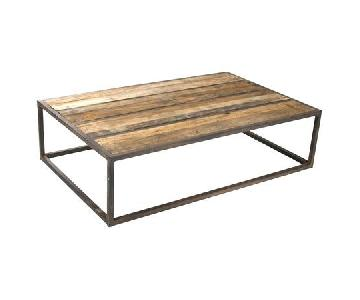 Pottery Barn Industrial-Style Wood & Metal Coffee Table