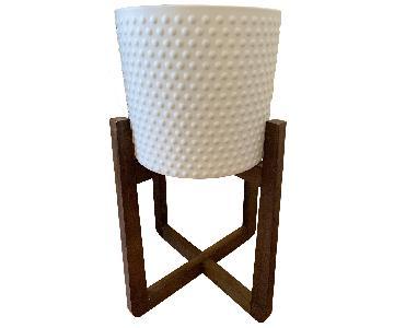 White Ceramic Textured Vase/Planter