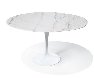 Rove Concepts White Carrara Marble Round Tulip Table