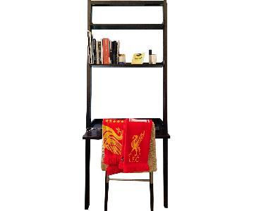 Wood Leaning Desk/Bookshelves