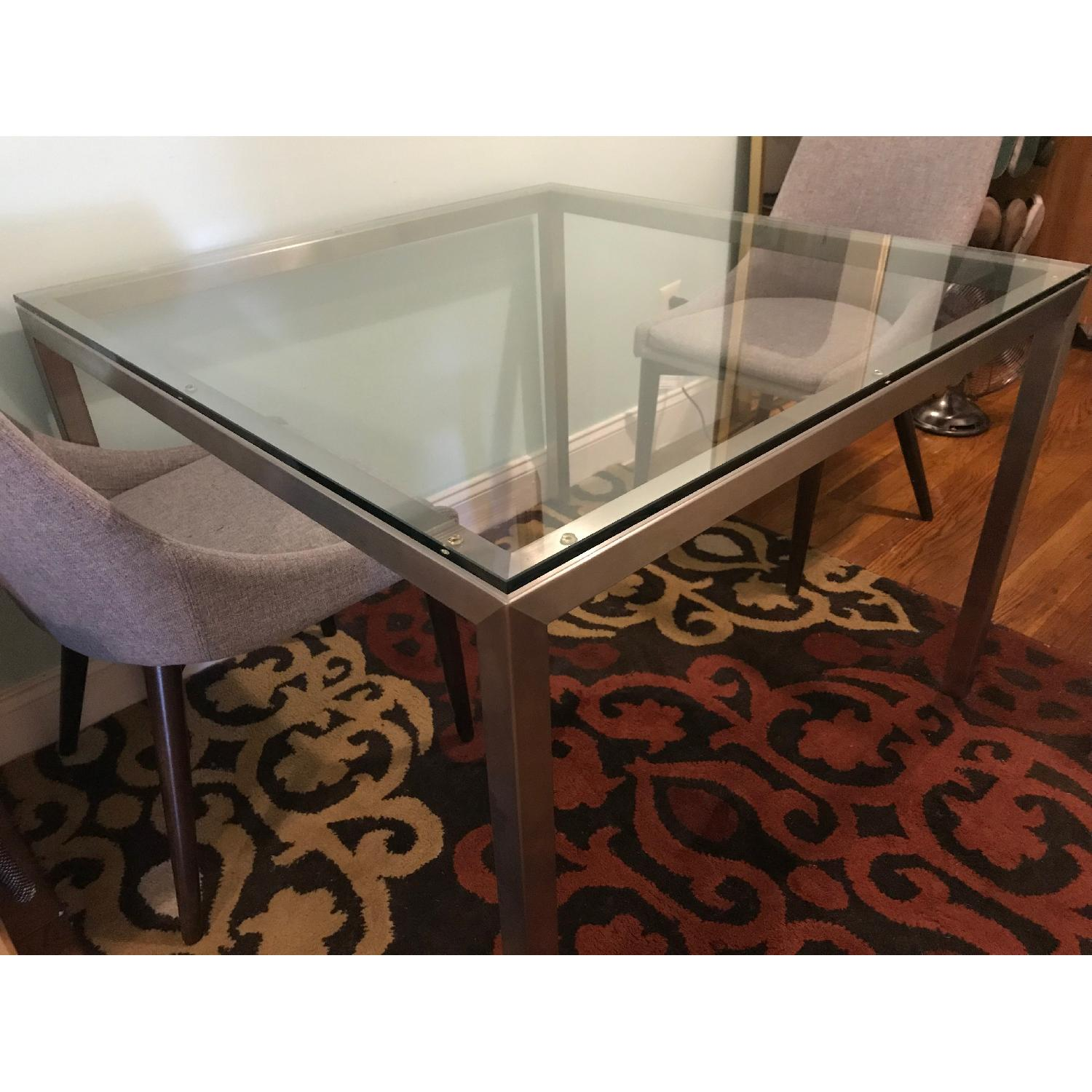 Room & Board Portica Glass & Stainless Steel Table