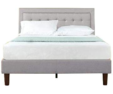 Zinus Grey Button Tufted Queen Size Platform Bed