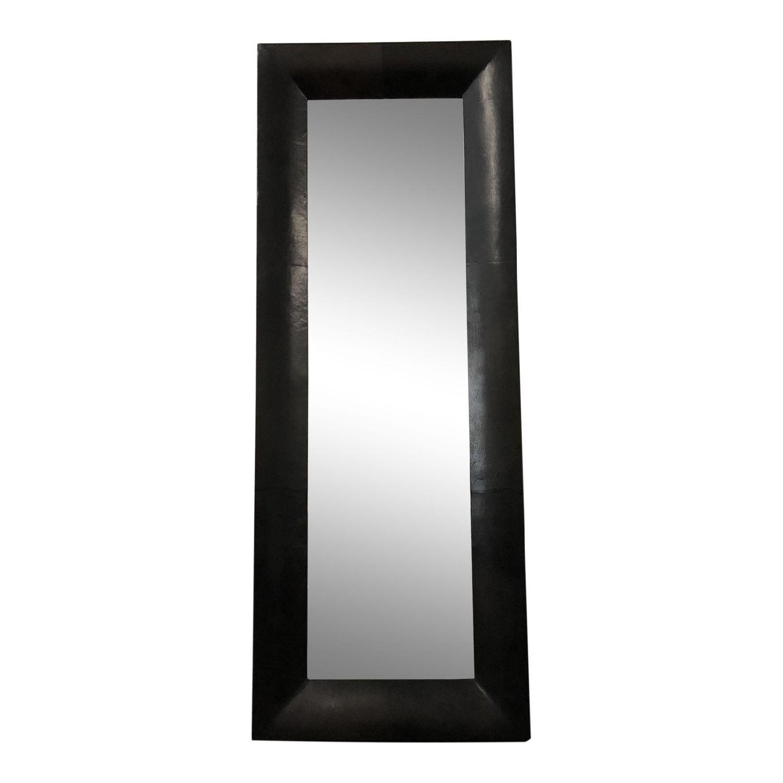 Crate & Barrel Leather Floor Mirror