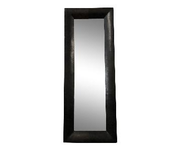 Crate & Barrel Leather Floor Mirror
