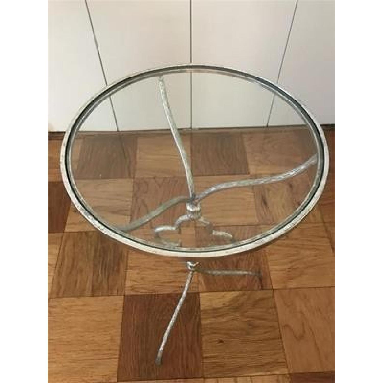 Privilege International Clover Silver Leaf Glass Side Table