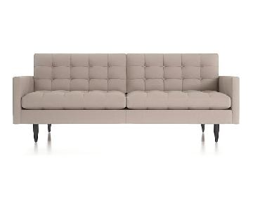 Crate & Barrel Petrie Mid Century Sofa in Grey
