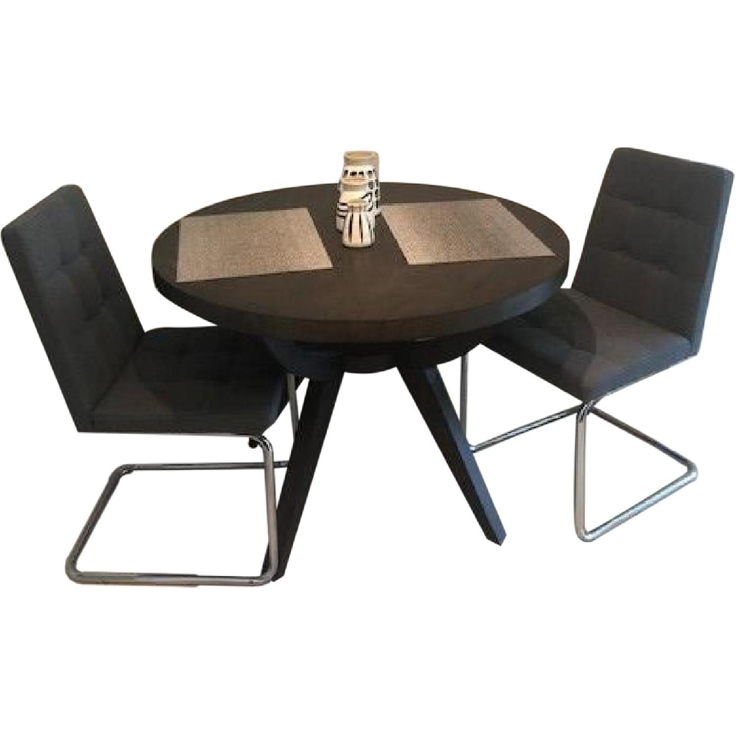 West Elm Arc Base Pedestal Dining Table w/ 2 Chairs