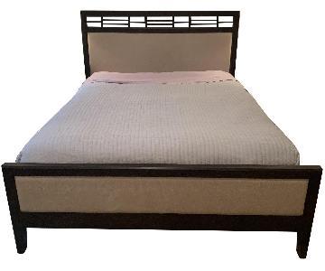 Crate & Barrel Wood & Fabric Platform Bed Frame
