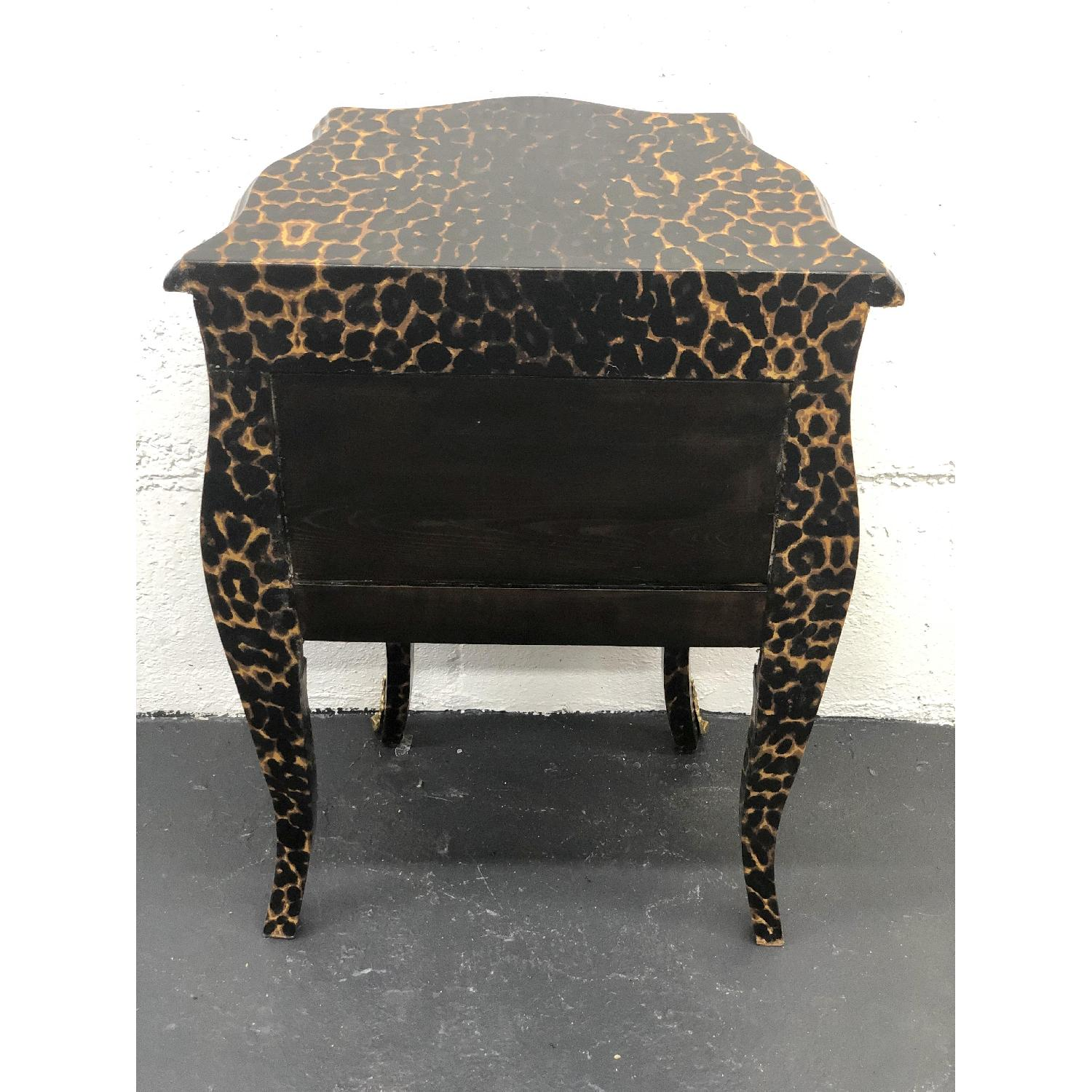 Leopard Print Wood Side Table/Commode