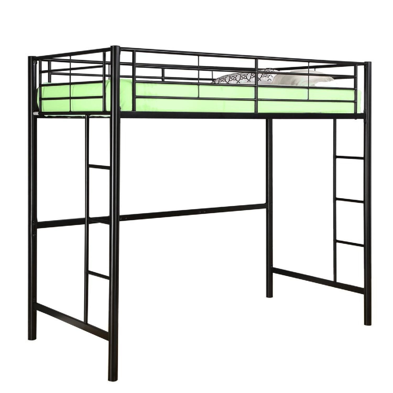 Black Twin Metal Loft Bed w/ Ladders