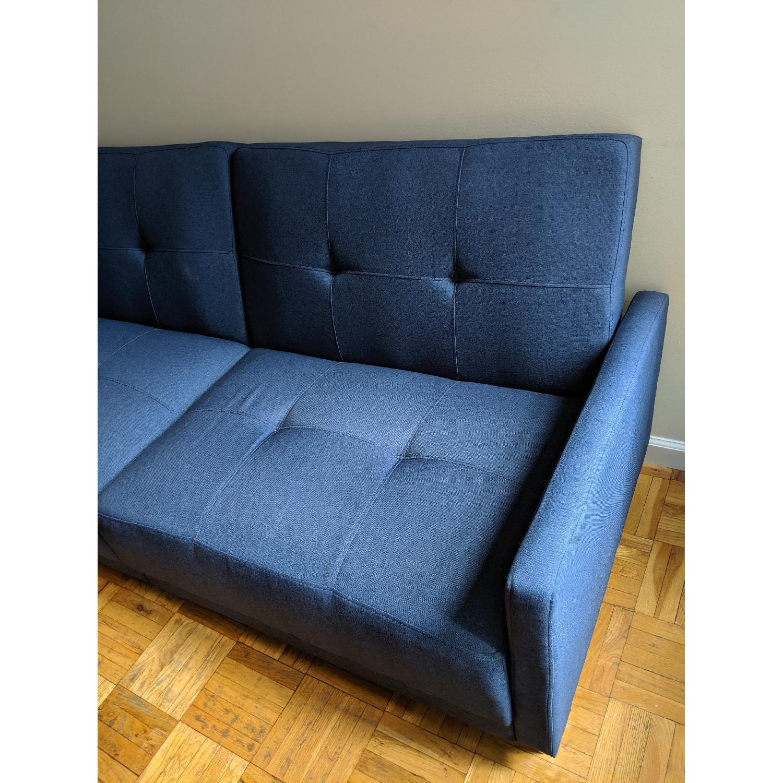 Remarkable Zipcode Design Modern Convertible Sofa In Blue Linen Aptdeco Theyellowbook Wood Chair Design Ideas Theyellowbookinfo