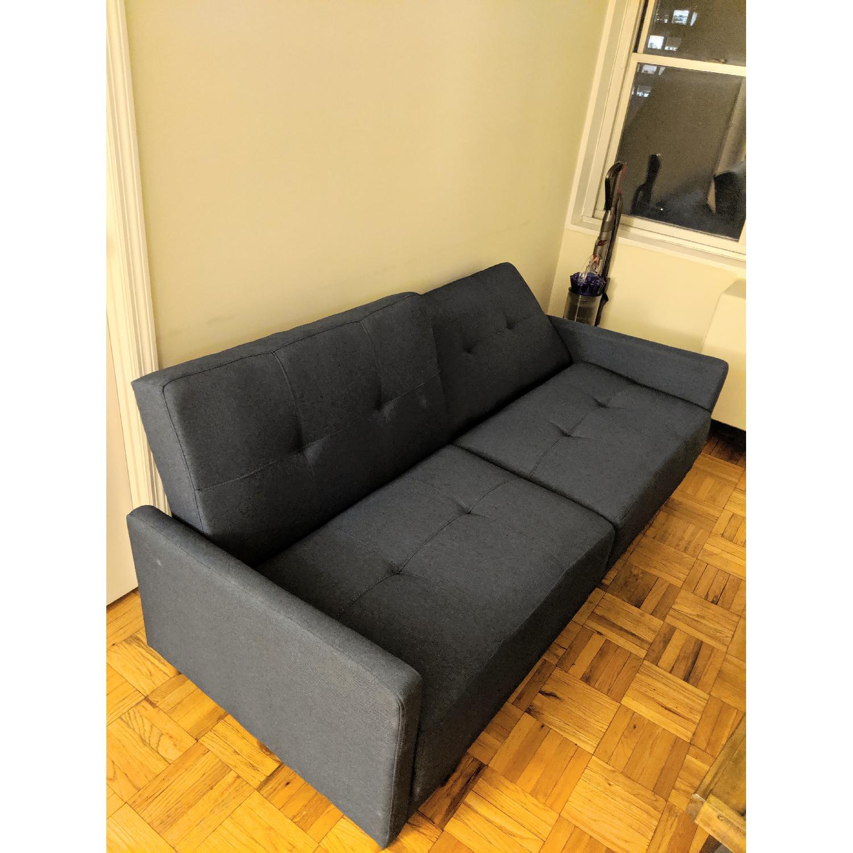 Super Zipcode Design Modern Convertible Sofa In Blue Linen Aptdeco Theyellowbook Wood Chair Design Ideas Theyellowbookinfo