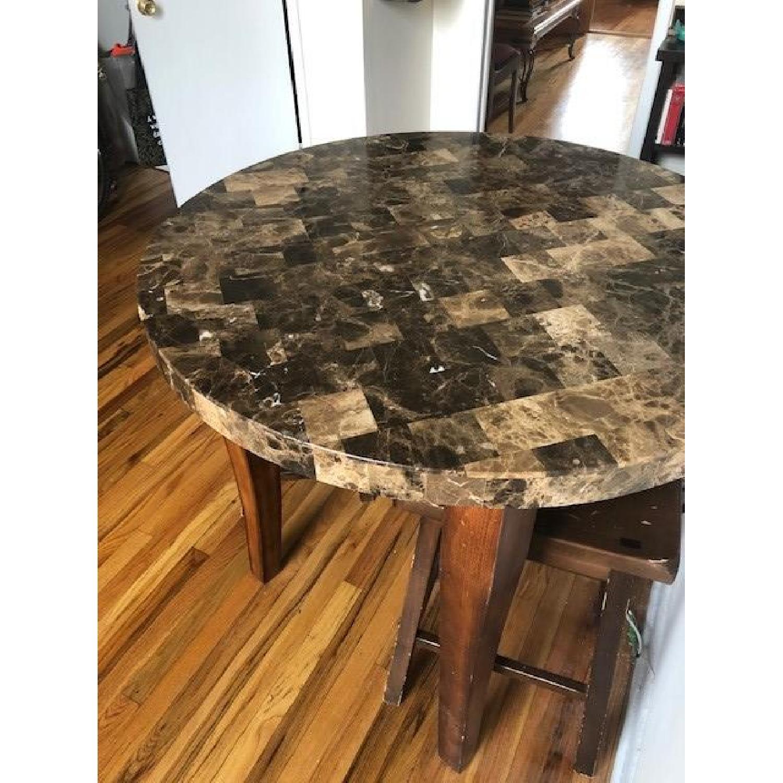 Vintage Marble & Wood Bistro Kitchen Table w/ 3 Stools