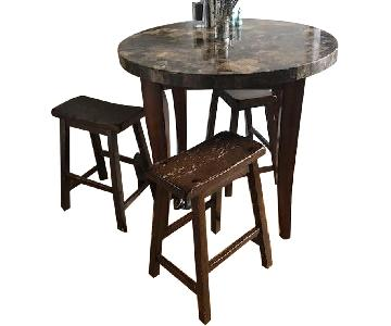 Vintage Marble & Wood Bistro Kitchen Table w/ 3 Stools