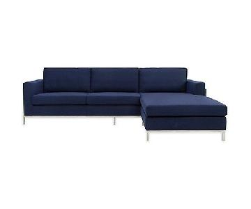 Wade Logan Boan Navy Blue Sectional Sofa