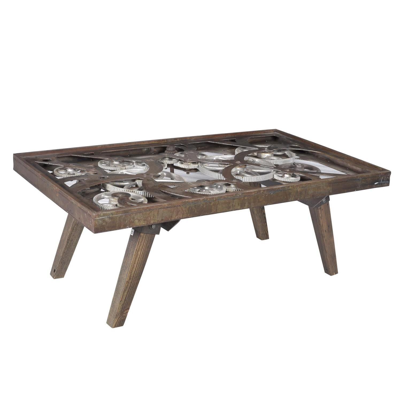 Designe Gallerie Kaarlo Gear Coffee Table w/ Glass Top